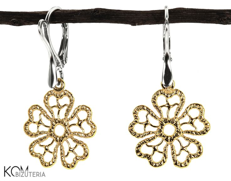 CHARM golden weave flower -  silver leverback earrings. Lovely silver leverback earrings with gold-plated silver charms in a shape of a weaved flower.