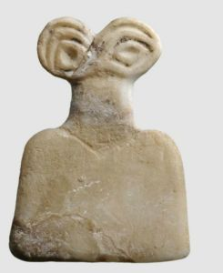 """Eye Goddess. Many hundreds of small figures like these were found at the Syrian """"Eye Temple"""" of Tell Brak, which date from about 3650-3550 BC. This temple was dedicated to the worship of the Goddess Ishtar (Inanna). They are all unique and yet the same. This Eye Goddess was made in albast."""