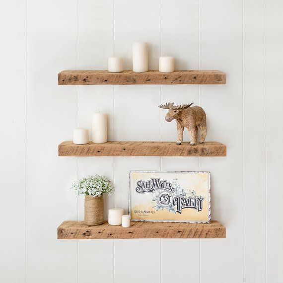 Barn wood shelf, Reclaimed floating shelves, Rustic farmhouse wood shelving