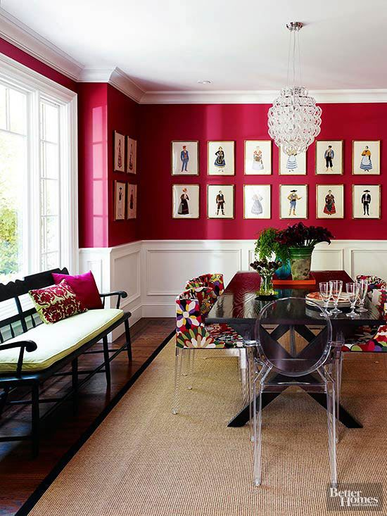 This fashion-inspired dining room evokes all the pomp and verve of Hollywood with bold, red walls.