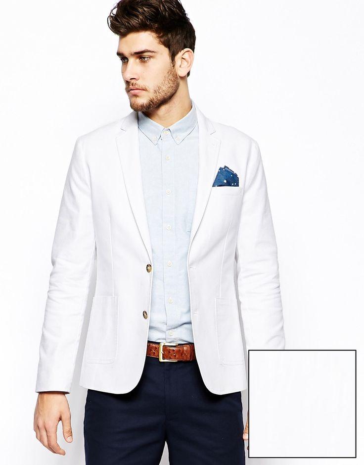 ASOS Slim Fit Blazer In Washed Cotton