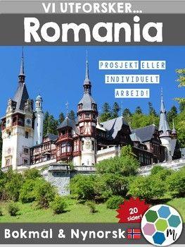 Utforsk Romania med dette opplegget. Det finnes fem tilhrende arbeidsark som ogs kan skrives ut i A3 for  brukes som plakater. Bde farge- og svarthvittversjoner er med. I tillegg har man oversikt/plakater med kart og landets plassering i verden. Kombiner gjerne med opplegget Europapass - samlebok for stempel.NB!