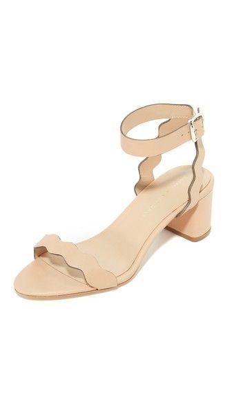 Loeffler Randall Emi City Sandals in wheat (beige block heel ankle strap scallop) $325 | Shopbop