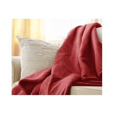 Sunbeam Microplush Electric Heated Throw Blanket Garnet Red 3 Settings