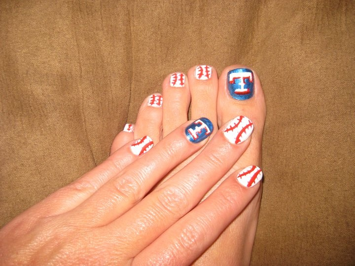 555 best sports nails images on pinterest baseball nail designs texas rangers nail art prinsesfo Images