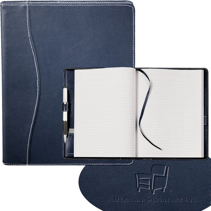 Hampton JournalBook available in Black or Navy Blue with 90 sheets of lined paper. Made from Ultrahyde material. (Pens shown available separately item number: #654)