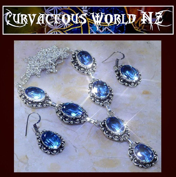 Gorgeous Deep blue Topaz necklace set with Earrings