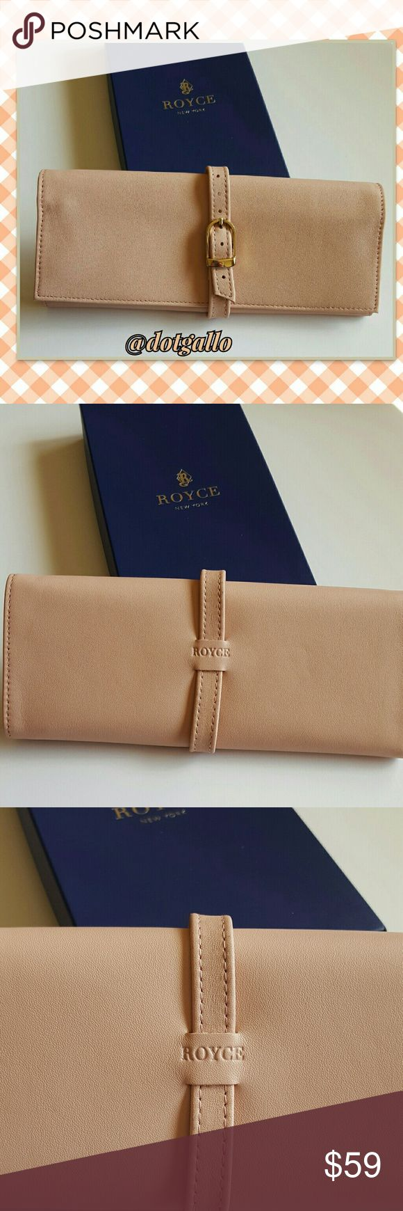 "Leather jewelry roll nib Luxury for your jewelry! Butter soft leather jewelry roll  Measures 8.5 "" x 3.5: Goldtone buckle closure  Pretty pale pink, beige color New in box Royce Leather Bags Travel Bags"