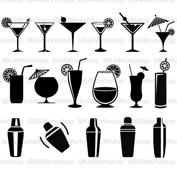 Cocktail Svg Cocktail Glasses Svg Cocktail Vector Cocktails Vector Cocktails Clipart Cricut Cutter