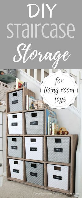 Simply Beautiful By Angela: DIY Staircase Storage Unit for Living Room Toys.  Stair Step Cubes