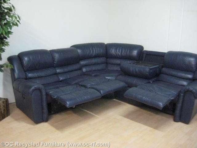 Leather Sofa SALE Navy Blue La Z Boy Recliner Sectional Sofa