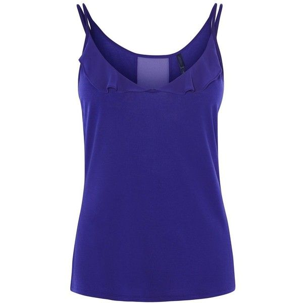 Karen Millen Purple Frill Cami Top ($57) ❤ liked on Polyvore featuring tops, purple, women, purple cami, sheer tank top, blue tank, ruffle tank tops and blue tank top