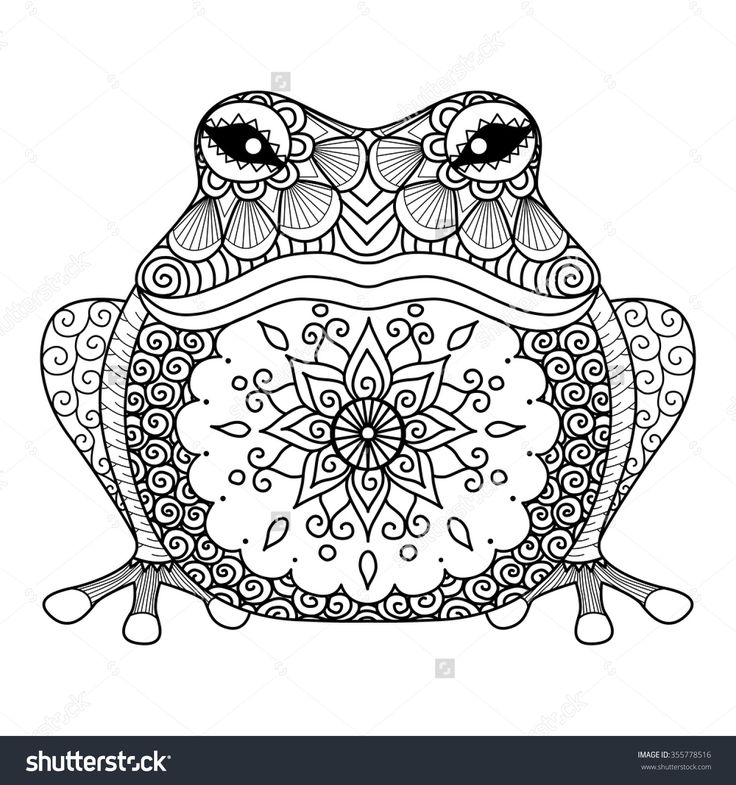 Hand Drawn Zentangle Frog For Coloring Book Adult Shirt Design More