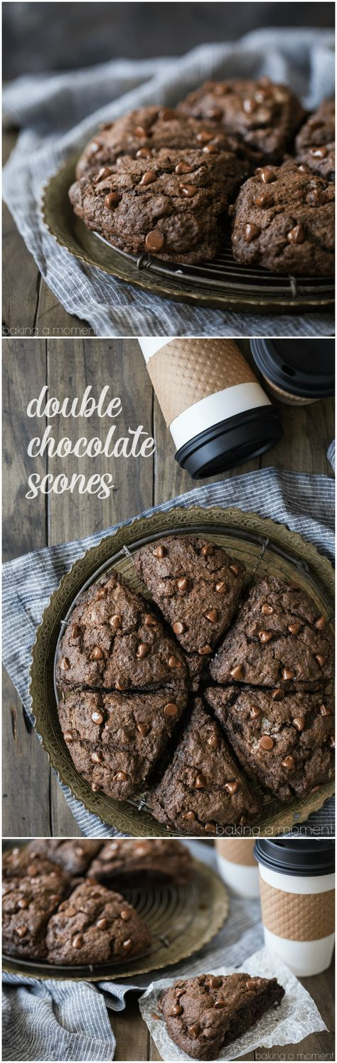 Double Chocolate Scones: what an incredible treat for breakfast or brunch! These whip up in a snap and they're so moist and chocolate-y, with plenty of chocolate chips in every bite! food breakfast chocolate