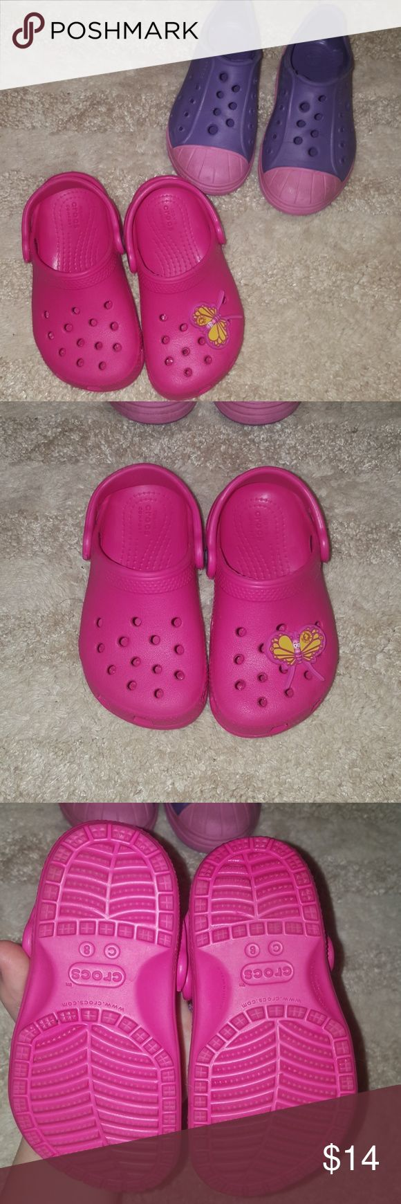 Crocs (tennis shoes and classic) Hello all! These are a super cute bundle of little girl (toddler) size 8 crocs. They are the classic style and the tennis shoe style. The classic pair hasnt even been worn, if any wear maybe once, and the tennis shoe pair does have some wear.  Mostly darkening on the lite pink toes amd sides. Tons of life left! There is a butterfly button on the pink pair. They have been washed as well! Great for any little girl! Smoke free home and offers and questions…