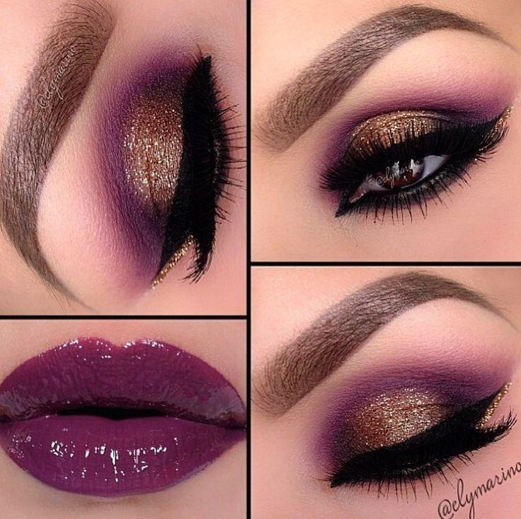 Gold magenta eye makeup