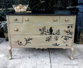 Solid Wood Hand Painted Taupe, Black Distressed Dresser with Bird