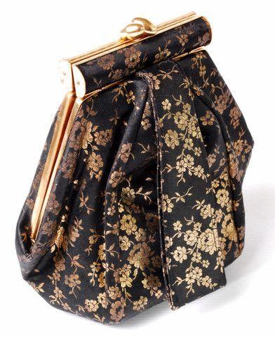 Vintage 1940s deco hexagonal satin evening handbag purse #EveningBags