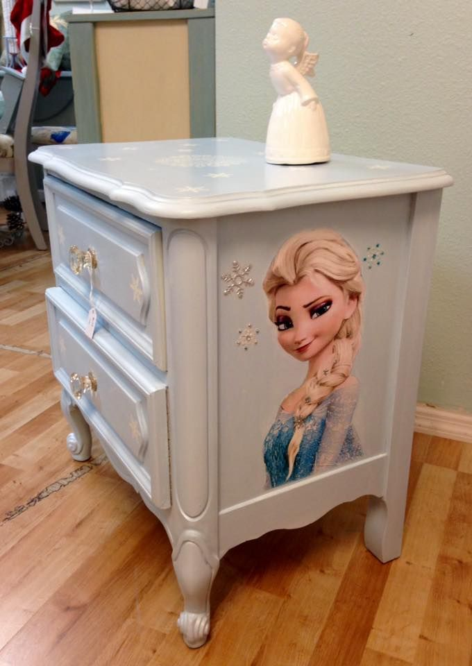 """Frozen themed chalk painted night stand with decoupaged images of """"Elsa"""""""