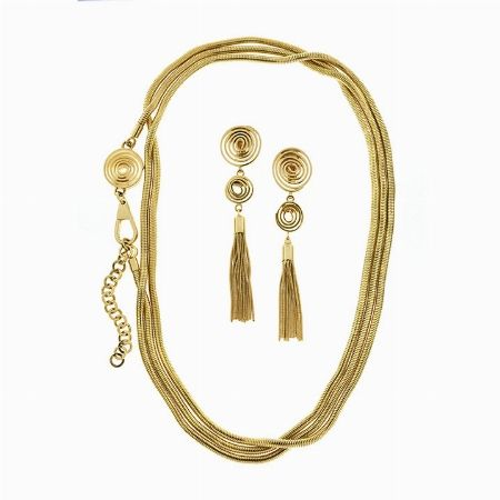 PARURE IN METALLO DORATO, MISSONI  - Lotto n. 47 - Asta 1# - Curio Casa d'Aste in Firenze #auction #bijoux #fashionjewelry #costumejewelry #earring  #set #necklace #golden #missoni #italy #florence #moda #trend #anniottanta #eighties #spiral #madeinitaly #trend #fashion #couture