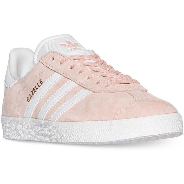 adidas Women's Gazelle Casual Sneakers from Finish Line (134.130 COP) ❤ liked on Polyvore featuring shoes, sneakers, real leather shoes, adidas sneakers, stripe shoes, leather footwear and leather trainers