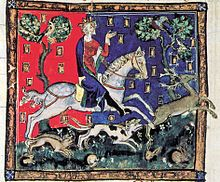 An illuminated picture of King John riding a white horse and accompanied by four hounds. The king is chasing a stag, and several rabbits can be seen at the bottom of the picture.