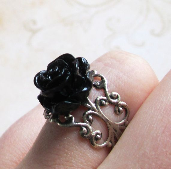 Gothic Black Rose Ring vintage steampunk lolita filigree pattern goth style emo scene kawaii cute on Etsy, $8.50
