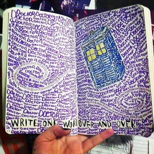 drawing art doctor who dw My art sorry TARDIS wreck this journal um yeah text post doodle wtj