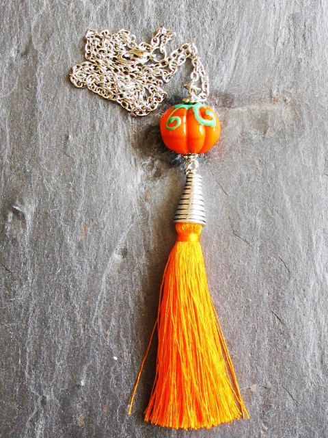 Lampwork Glass Pumpkin Necklace with Tassel by GlassHouseLampwork