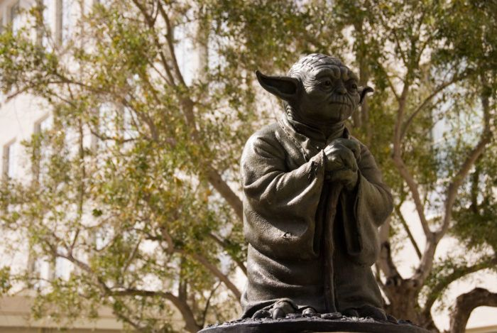 The Yoda fountain makes this spot even more odd and special. The Letterman Digital Arts Center is in the Presidio. This is a 26″ life-sized Yoda bronze statue.