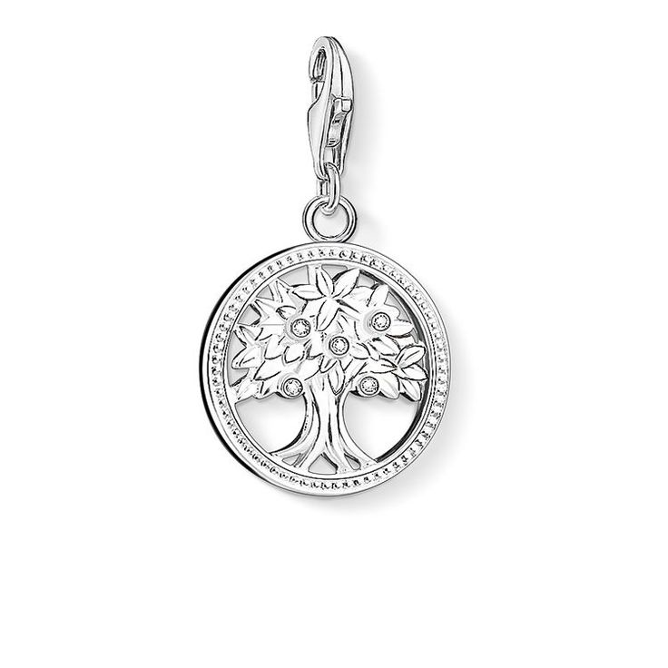 THOMAS SABO Charm pendant from the Charm Club Collection. The Tree of Life is a popular symbol of fertility and life. White pavé zirconia makes this meaningful Charm crafted from 925 Sterling silver dazzle magically. [Artikeltabelle]Category:Charm pendant Material:925 Sterling silver Stones:white zirconia-pavé Clasp:with lobster clasp Measurements:Size approx. 1,9 cm (0,74 Inch) Itemnumber:1303-051-14[