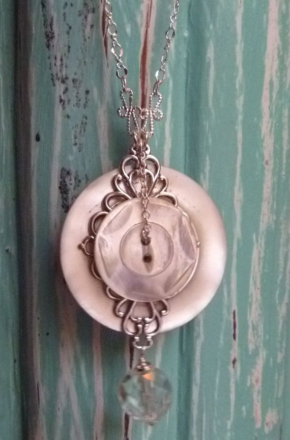 Large vintage button pendant with filigree and by DarlenePayton