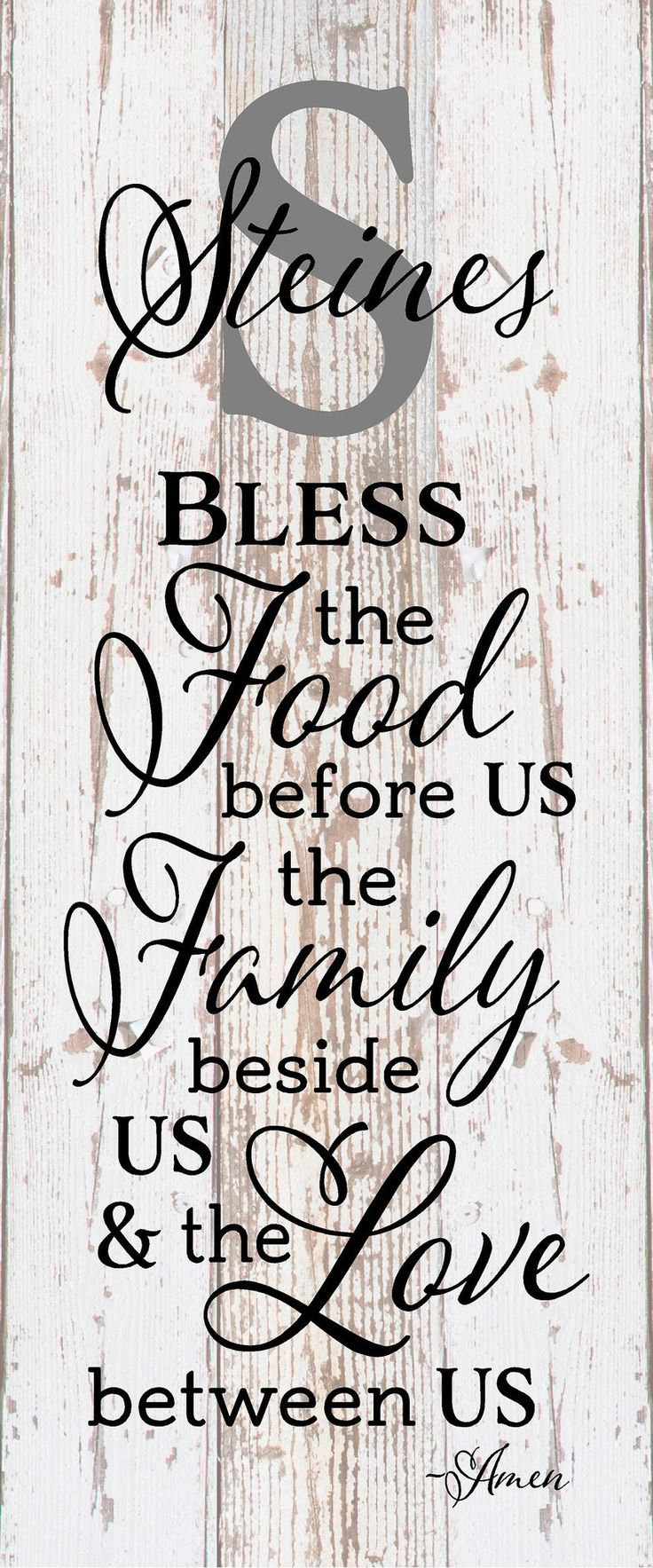 Custom Name Bless the Food Before Us The Family Beside Us and the Love between Us Wood Sign Canvas Wall Art Thanksgiving Christmas