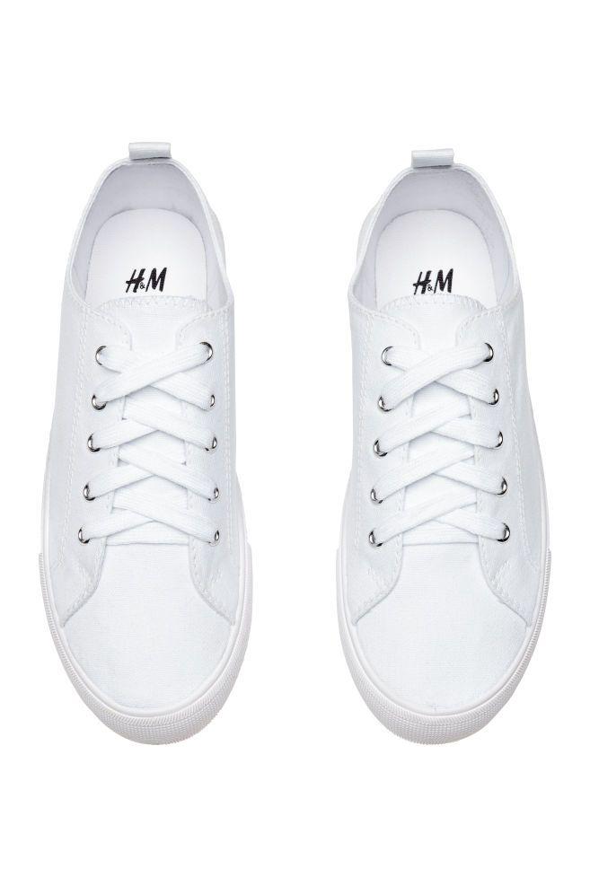 Canvas Sneakers - White - Ladies | H\u0026M