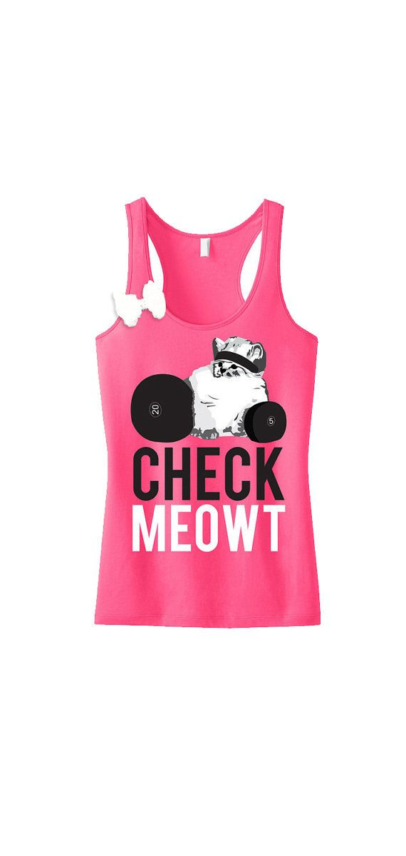 CHECK MEOWT Pink #Workout #Tank Top with Bow by #NobullWomanApparel, for only $27.99! Click here to buy https://www.etsy.com/listing/204650480/check-meowt-pink-workout-tank-top-with?ref=shop_home_active_3