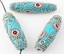 Handamde bead from India ! Χειροποίητη μεγάλη χάντρα κυλινδρική , τυρκουάζ - 001.24d135 - Xantres.gr - Χάντρες , κατασκευές , www.xantres.gr