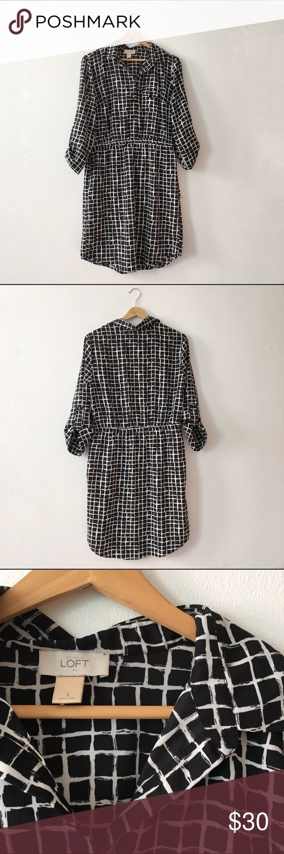Selling this Checkered Black & White Button-Down Dress on Poshmark! My username is: dive_co. #shopmycloset #poshmark #fashion #shopping #style #forsale #Ann Taylor #Dresses & Skirts