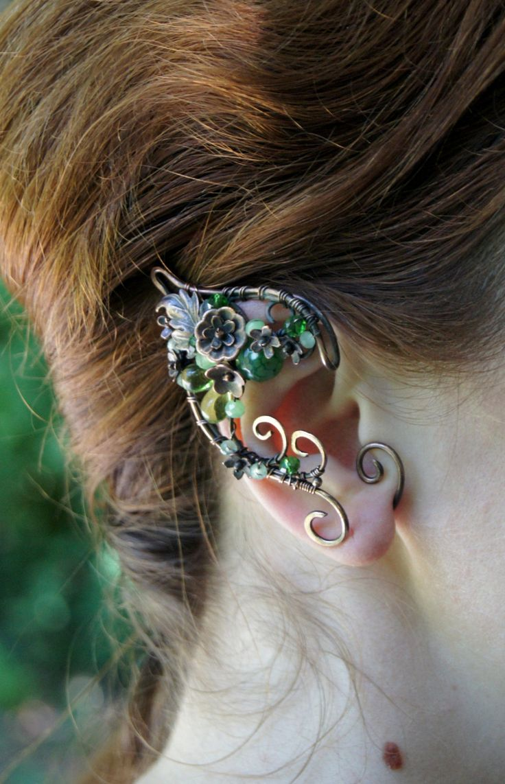 Forest Elven ears (a pair). Earcuffs, Elf ears, fantasy decoration for ears. by RomanticElfJewelry on Etsy