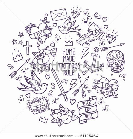 Old school tattoo elements. Cartoon tattoos in funny style: anchor, dagger, skull, flower, star, heart, diamond, scull and swallow  by motuw...