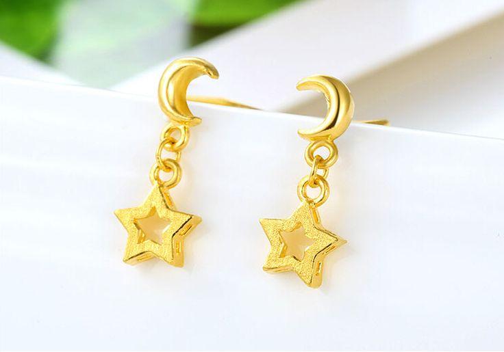 New Pure 999 24K Yellow Gold Earrings Women Lucky Star Earrings