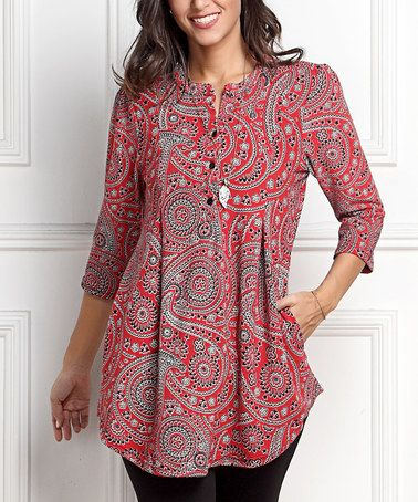Red Paisley Notch Neck Button-Front Tunic - Plus #zulily #zulilyfinds
