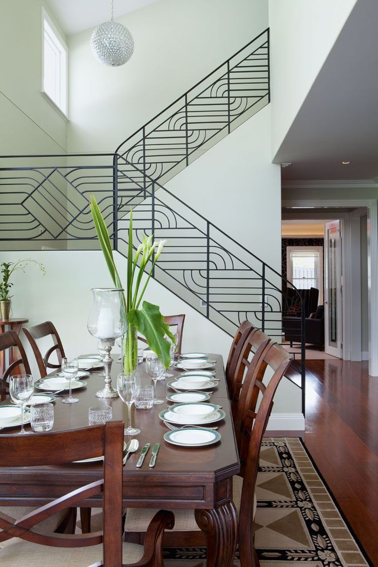 Previous pinner: Art deco inspired railing on those stairs adds an element  of interest to this large interior