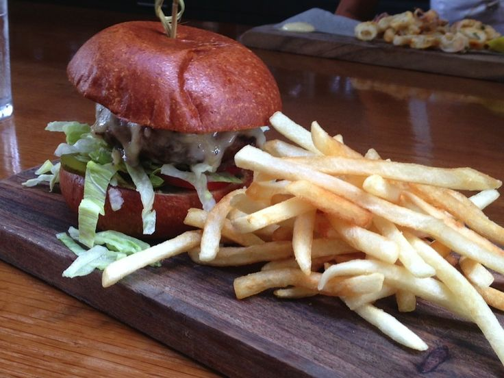 Wagyu Beef Burger with chips from Vicinity on Bourke Street in Sydney
