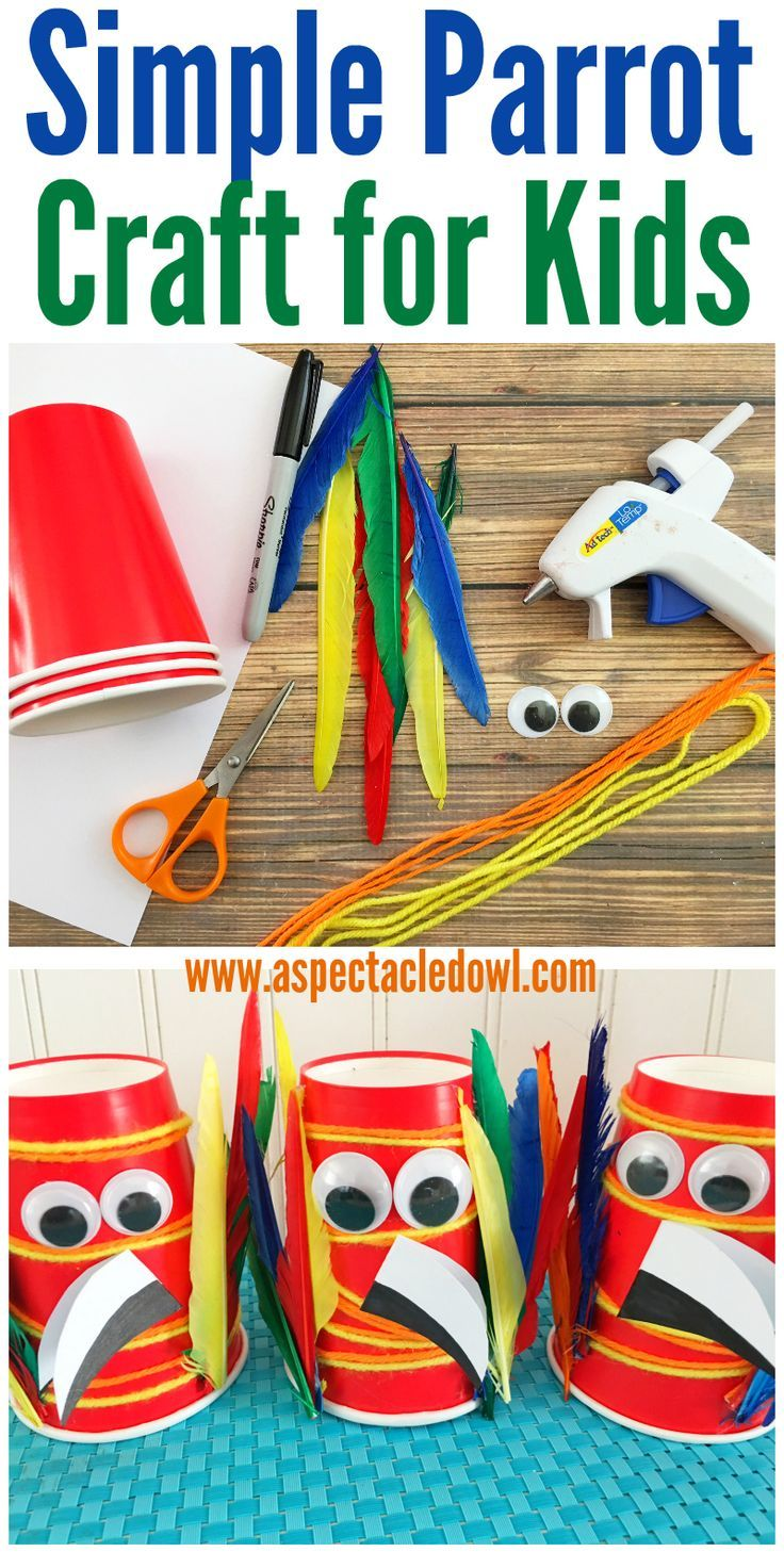 This Parrot Craft for Kids is colorful, fun & simple to do! Your kids will love putting this craft together and playing with the parrots when it's all done!