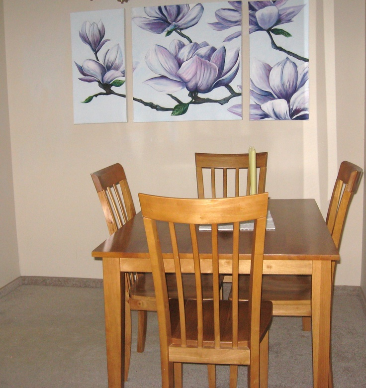Magnolia triptych. 6 ft by 2.5 ft.  In a dining room setting