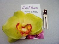 CLIP BARRETTE PINCE CHEVEUX ORCHIDEE vert lime fleur artificielle
