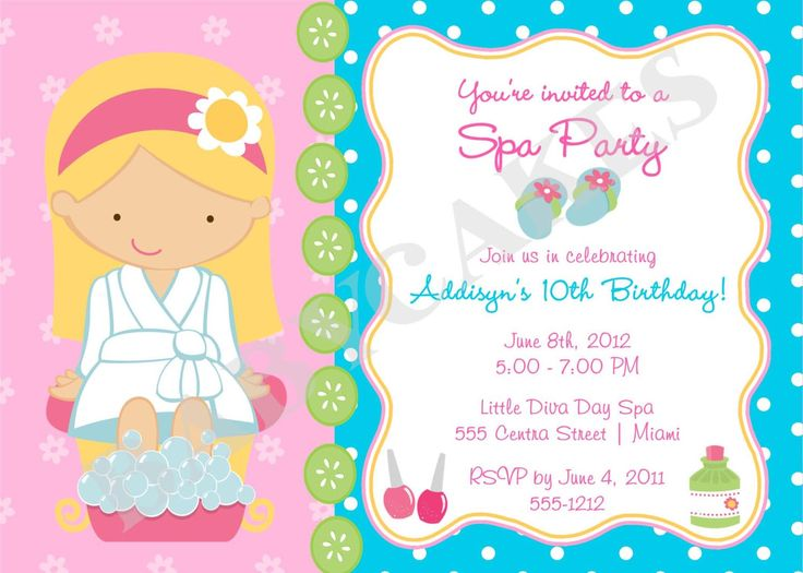 girls spa birthday party invitations spa party. Black Bedroom Furniture Sets. Home Design Ideas