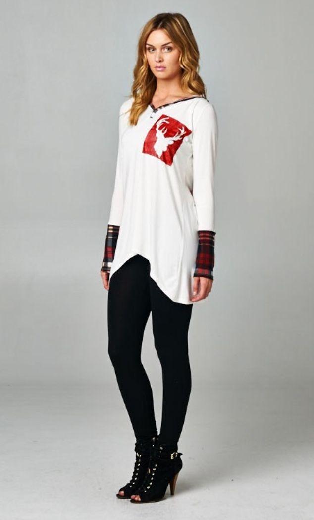 Reindeer hoodie with plaid detail CA$39.99