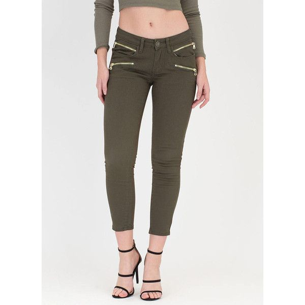 Zip-ster Status Skinny Jeans (495 MXN) ❤ liked on Polyvore featuring jeans, green, stretch denim skinny jeans, stretchy jeans, jegging jeans, super stretch skinny jeans and stretch jeans