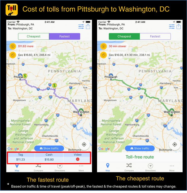 cost of tolls from pittsburgh to washington  dc  use